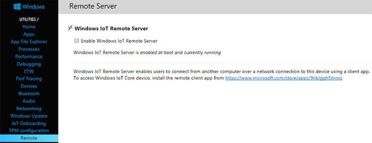 Enable Windows IoT Remote Server