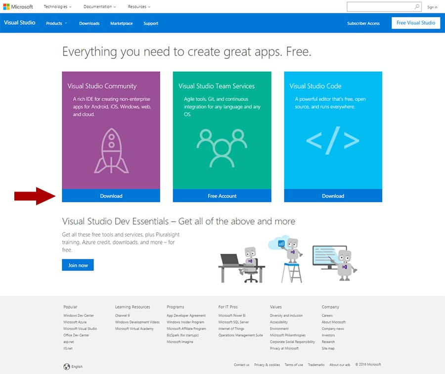 Visual Studio Community download page