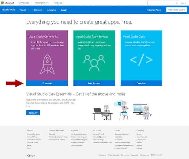 Visual Studio Community download page