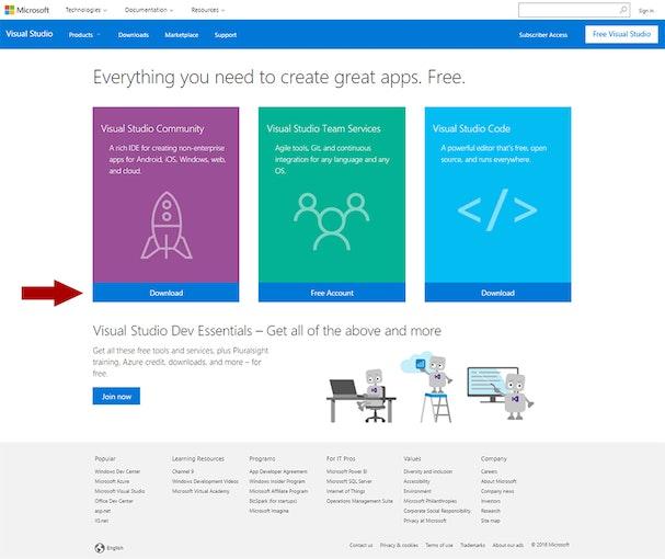 página de descarga de Visual Studio Comunidad