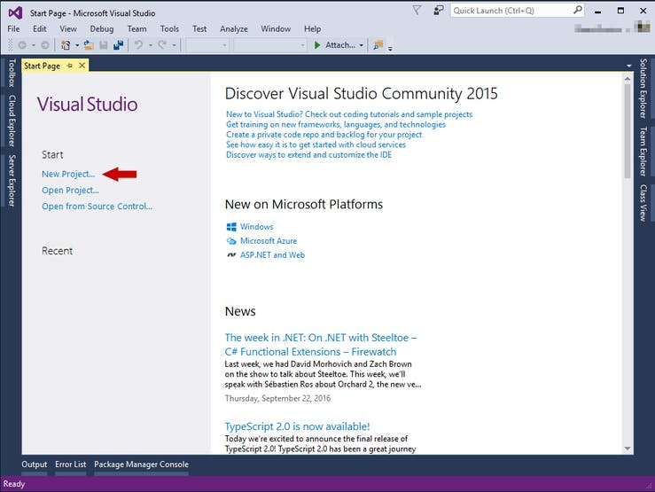 Visual Studio Start Page