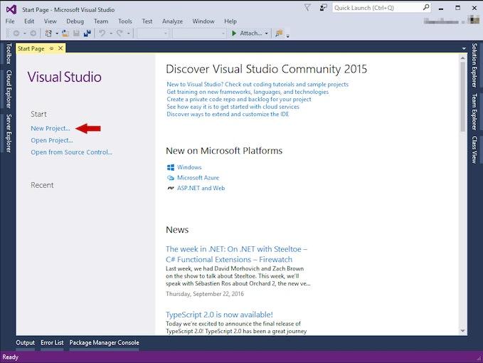 Visual Studio página de inicio