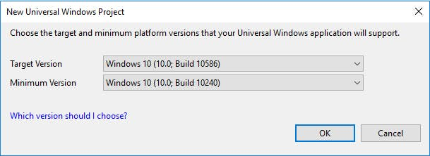 Choose UWP version