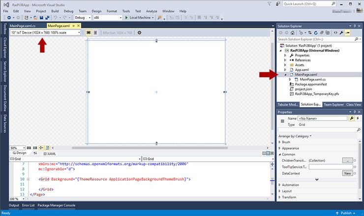 MainPage.xaml design interface