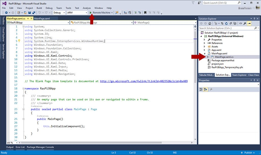MainPage.xaml.cs code behind file