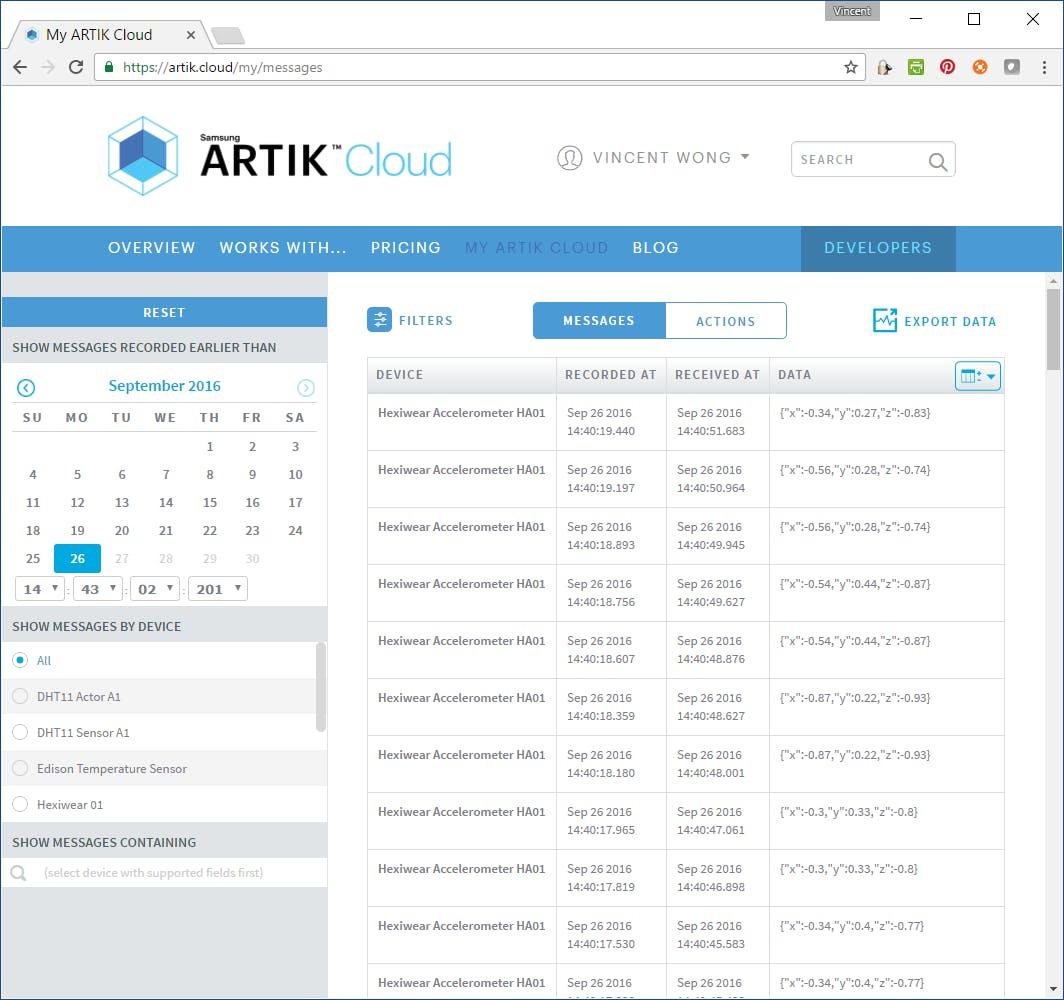 ARTIK data log