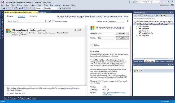 Installing WindowsAzure.ServiceBus NuGet package