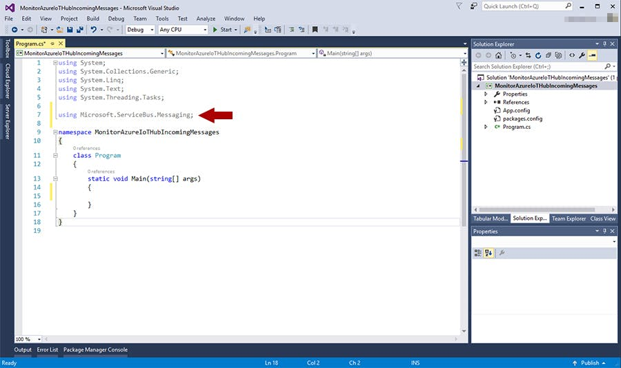 Import Microsoft.ServiceBus.Messaging namespace