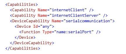 Providing UWP app Serial Capability