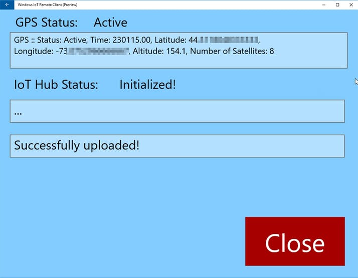 UWP App user interface running on Raspberry Pi 3B with GPS