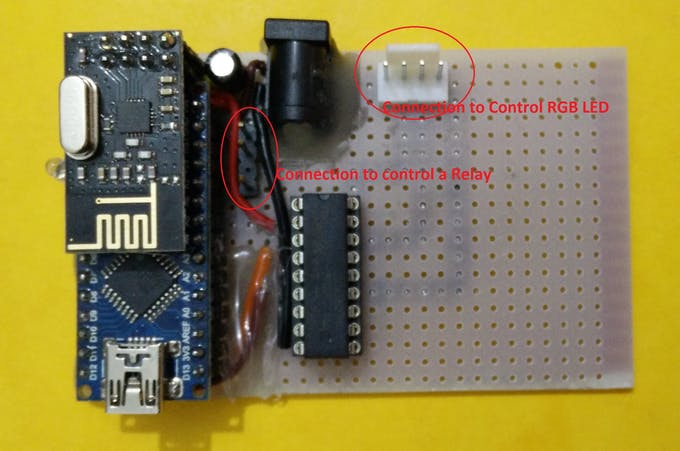 Node that can control a Relay and a RGB LED strip.