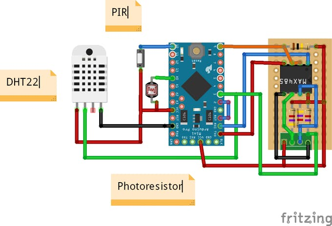 Arduino micro with 3 sensors and RS485 interface