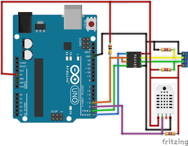 Arduino Uno with one sensor and RS485 interface
