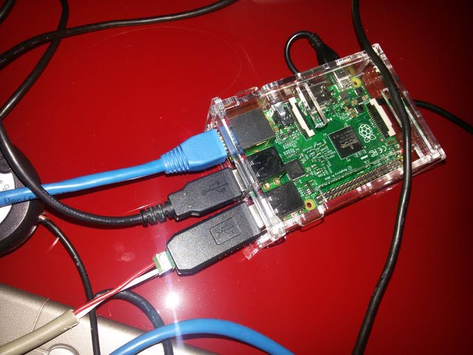 Raspberry with adapater connected