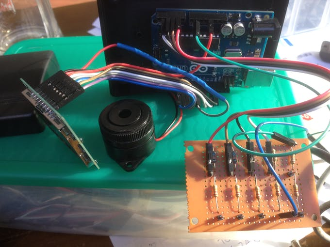 All connected and testing piezo for alarm, can hear with helmet on.