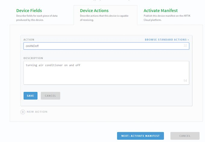 leave device fields and go to device actions and add an action
