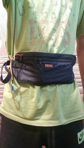 take out the DHT from bag.close the zipper and wear it.
