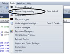 """Choose """"Device Programmer"""" from """"Tools"""" Menu"""