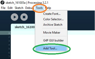 """Select """"Add tool"""" from """"Tools"""" menu"""