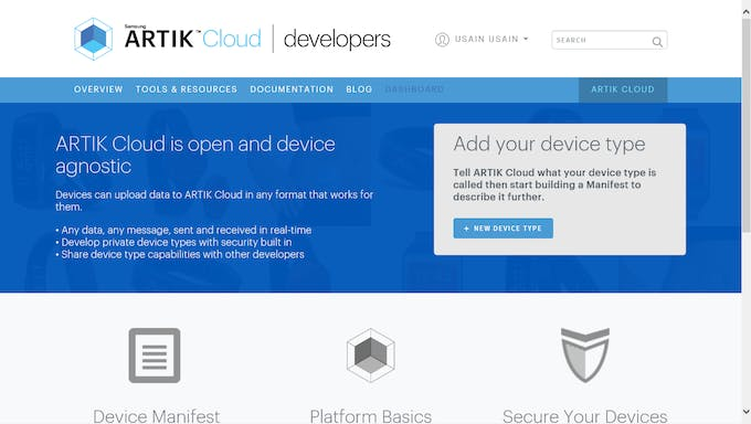 after creating signing in you would find this page in developers dashboard click on new device type