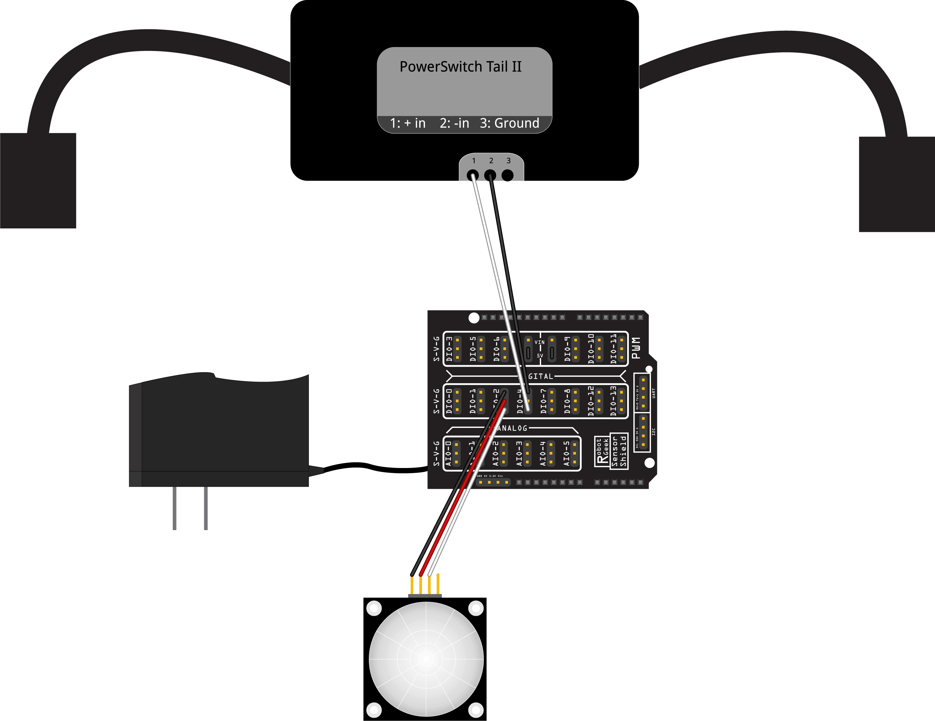 Robotgeek Pir Motion Sensor Night Light Circuit Diagram Also Wiring With Shield