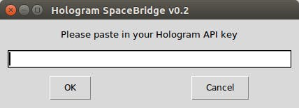 SpaceBridge client Step 1