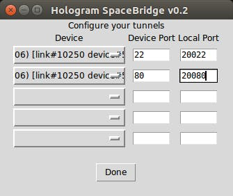SpaceBridge client Step 2: configure port forwards (22 is for SSH, and 80 is for browser-based remote control of the robot)