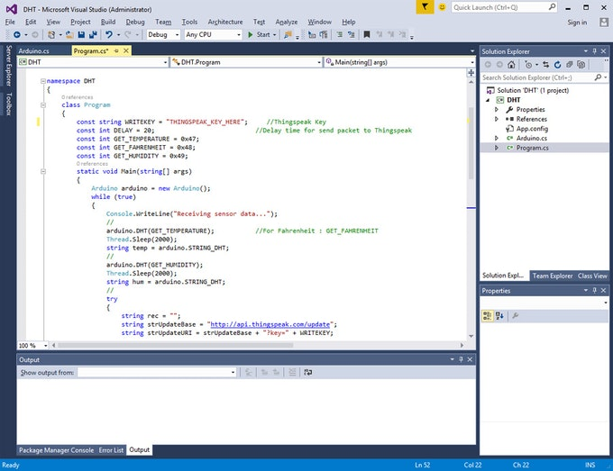Proyecto ejemplo DHT con C #