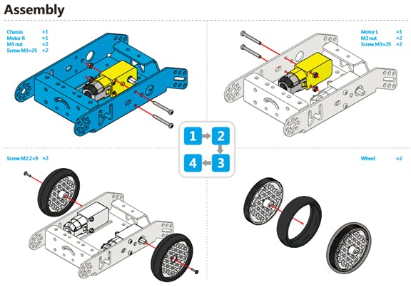 Assemble the wheels and motor to the chasis