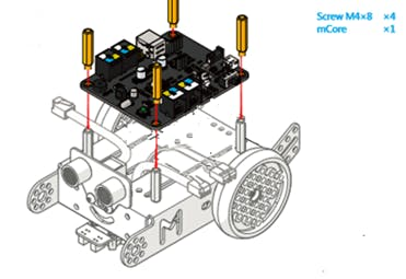 Mount the motor controller board to the mBot chassis. Use the shorter brass studs for this step