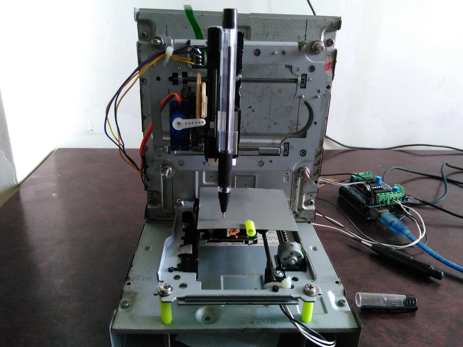 how to make mini cnc 2d plotter using scrap dvd drive, l293d