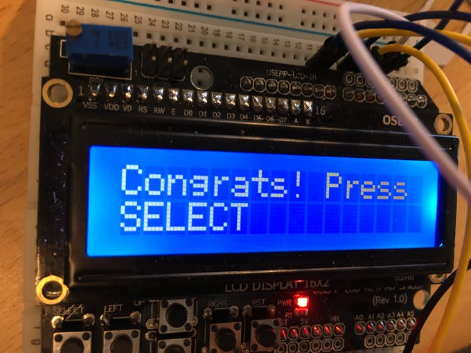 'Select' is on the LCD keypad in the bottom left corner
