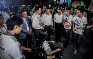 The Chinese Premier Li Keqiang meeting the autonomous wheelchair