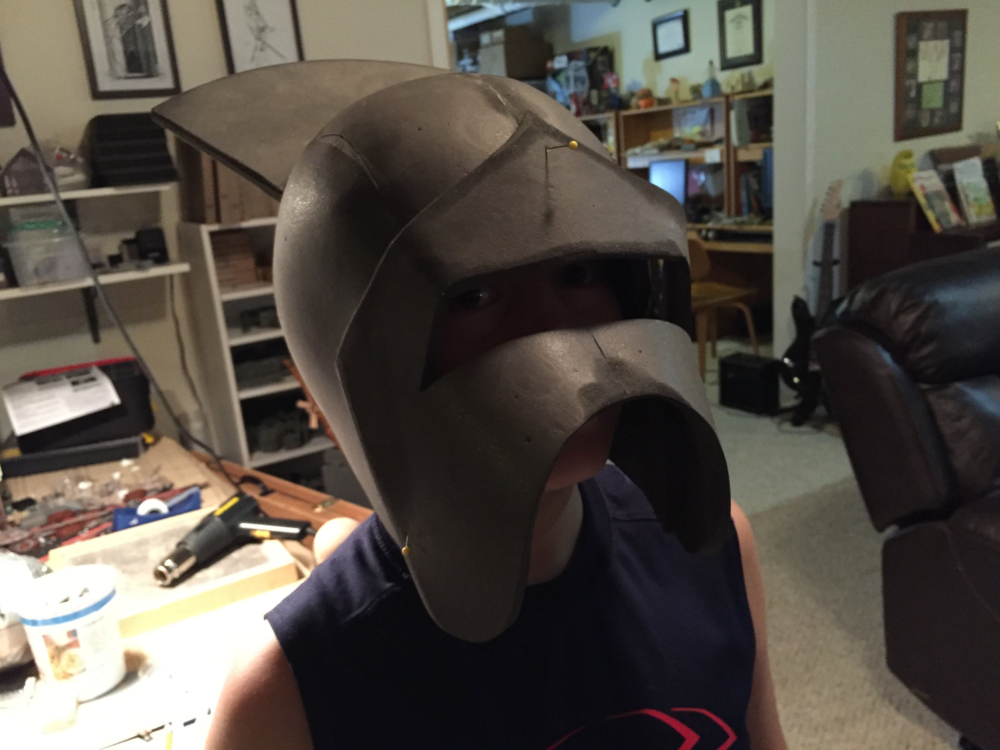 Test fitting the muzzle of the helmet. Be careful of the pins!