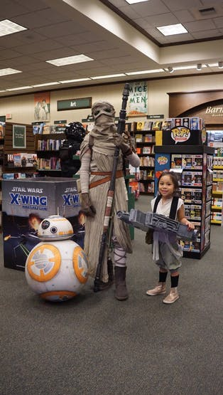 Our friend made a remote-controlled BB-8 and a highly accurate Rey costume!