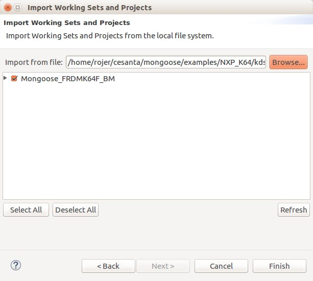 KDS project import dialog