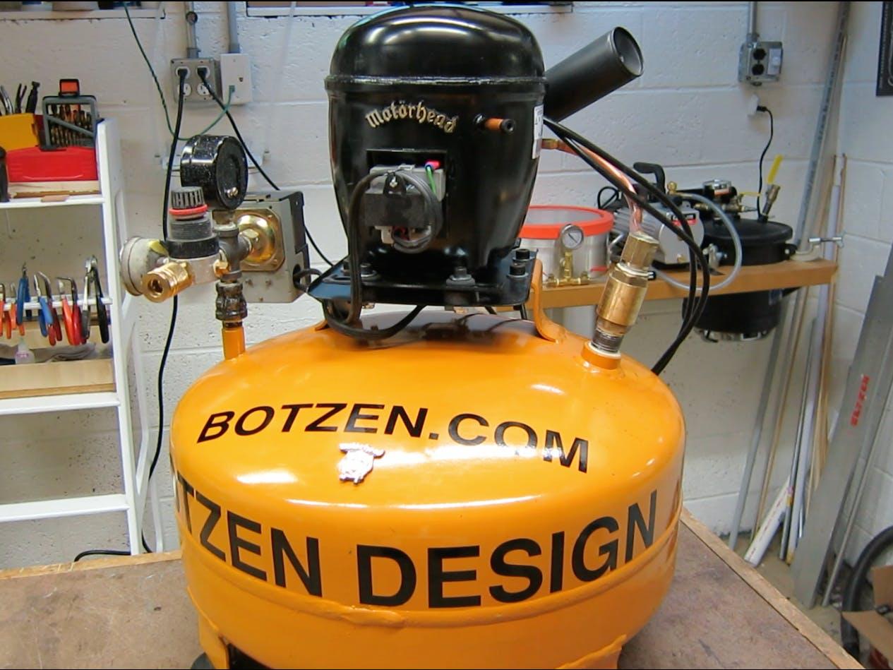 D.I.Y Ultra Quiet Shop compressor from a refrigerator motor
