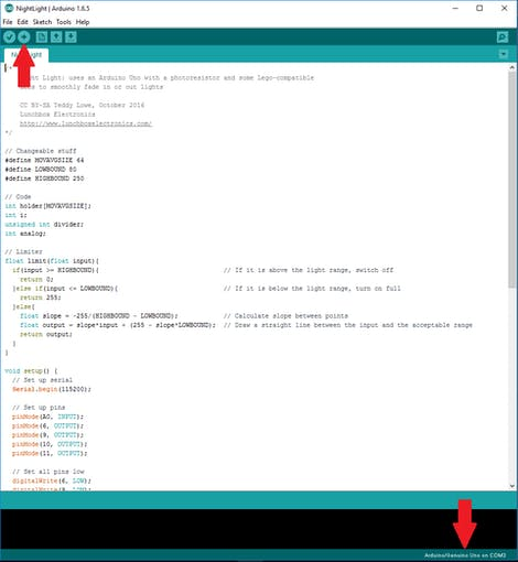 """Make sure the Arduino is seen in the bottom right (or go to """"Tools"""" if it isn't) then click upload in the top left!"""