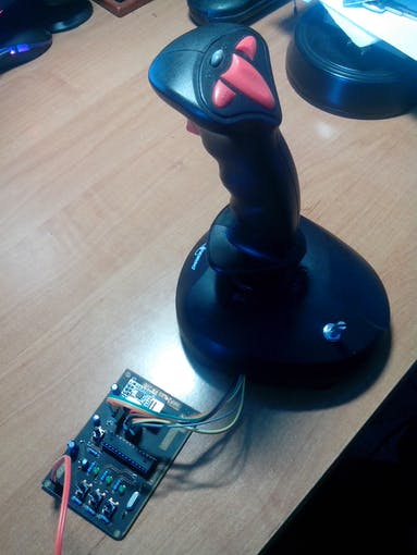 Modified game joystick used to control the airplane