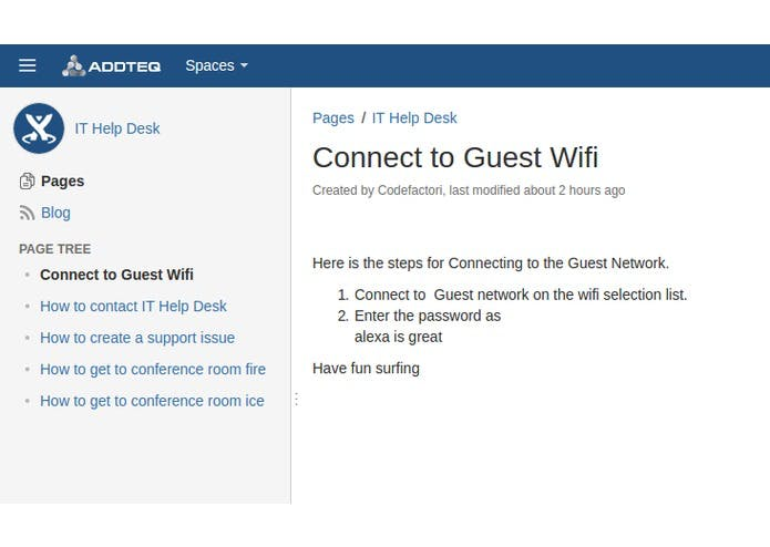 The Backend View of what is happening in Confluence and how Alexa is reading!