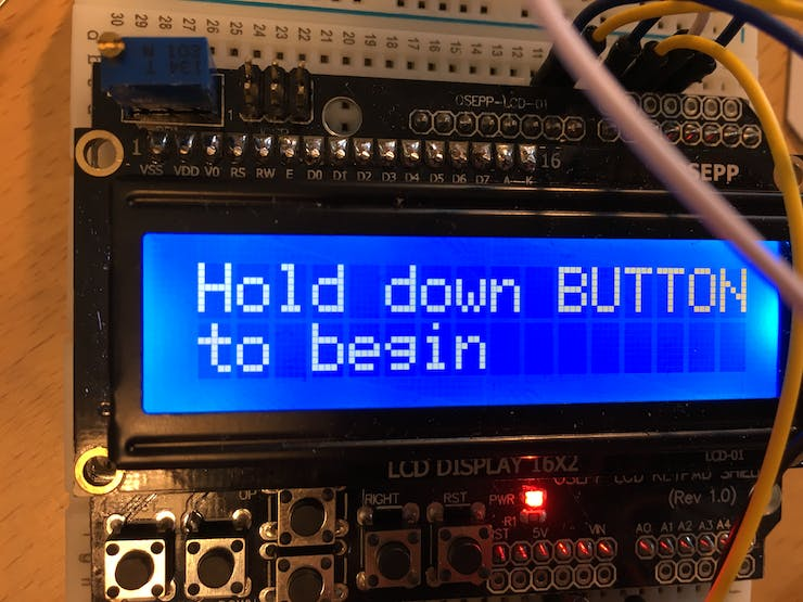 First thing you see on the LCD. Should really change Hold to SMASH!