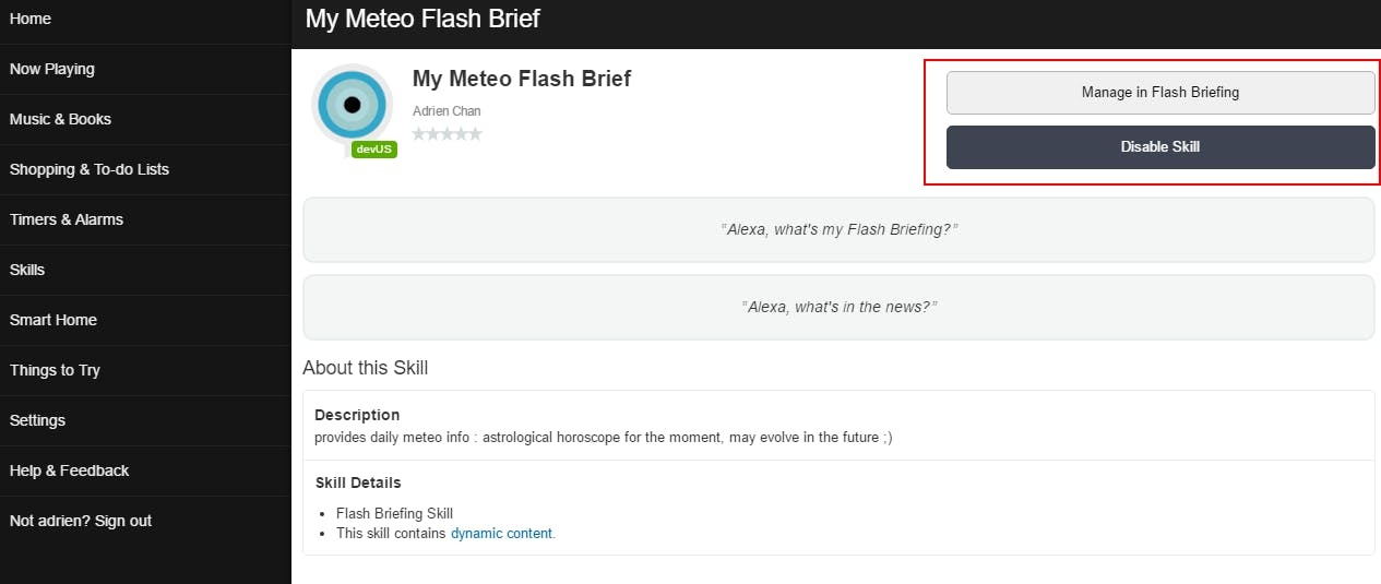 choose to manage your flash briefing skill