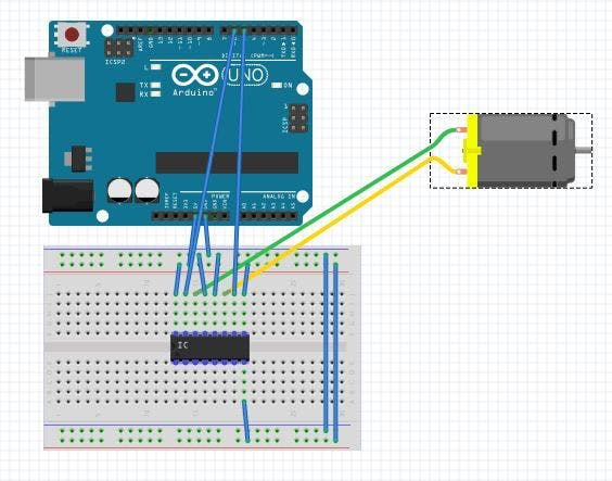 How to use a l293d chip with arduino and a motor arduino project hub sciox Choice Image