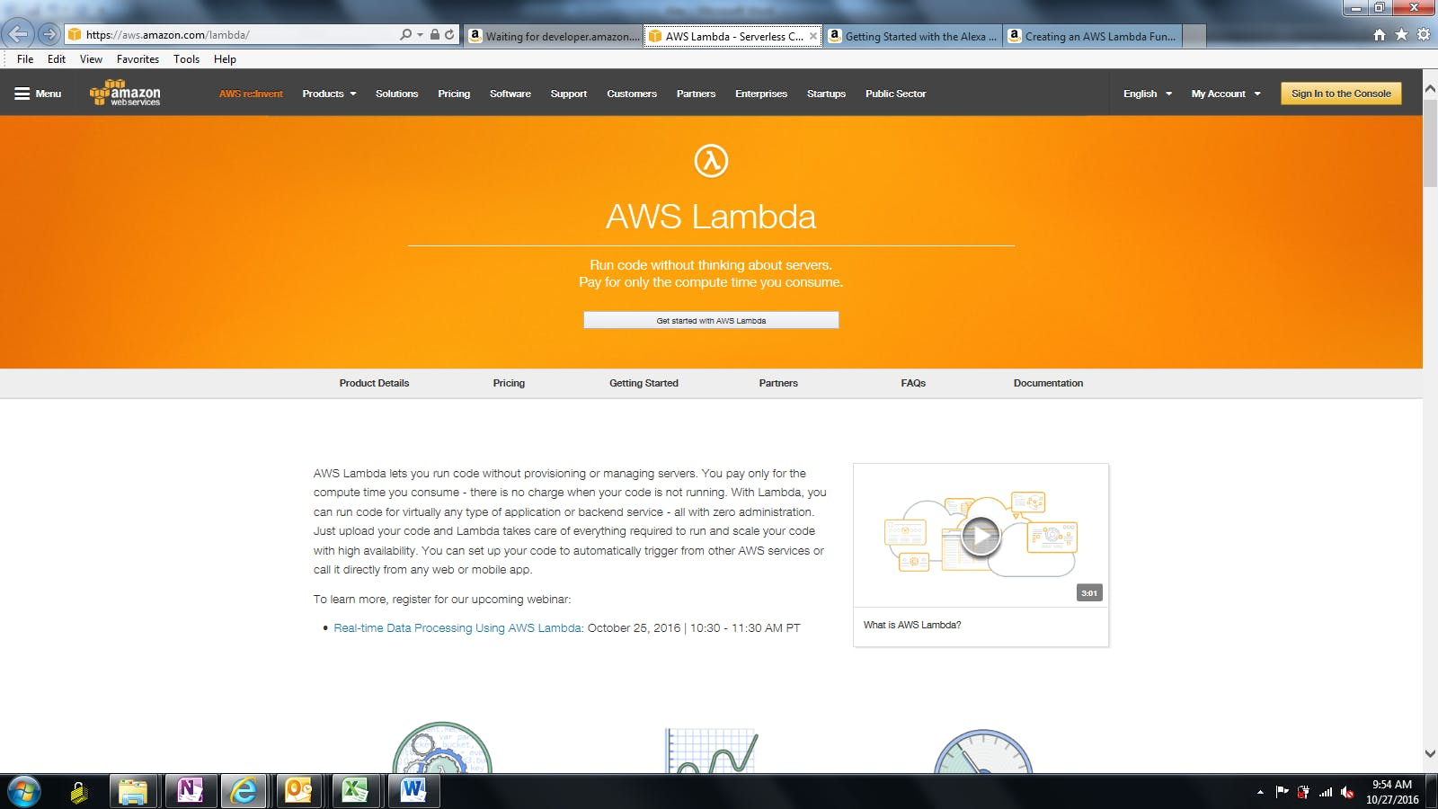 "step 1 : click on ""Get started with AWS Lambda"""