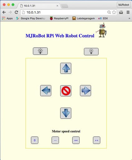 Iot controlling a raspberry pi robot over internet hackster step 6 creating an html page to control the robot greentooth Image collections