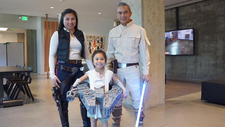With Mom as Han Solo and Dad as Luke.