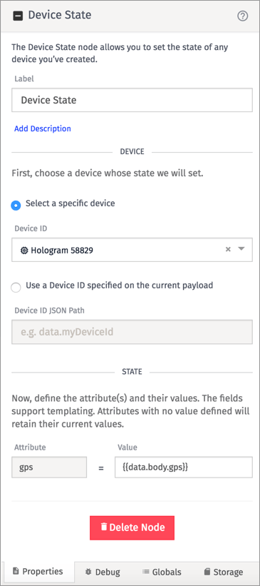 Your device name will be different but the state settings need to match