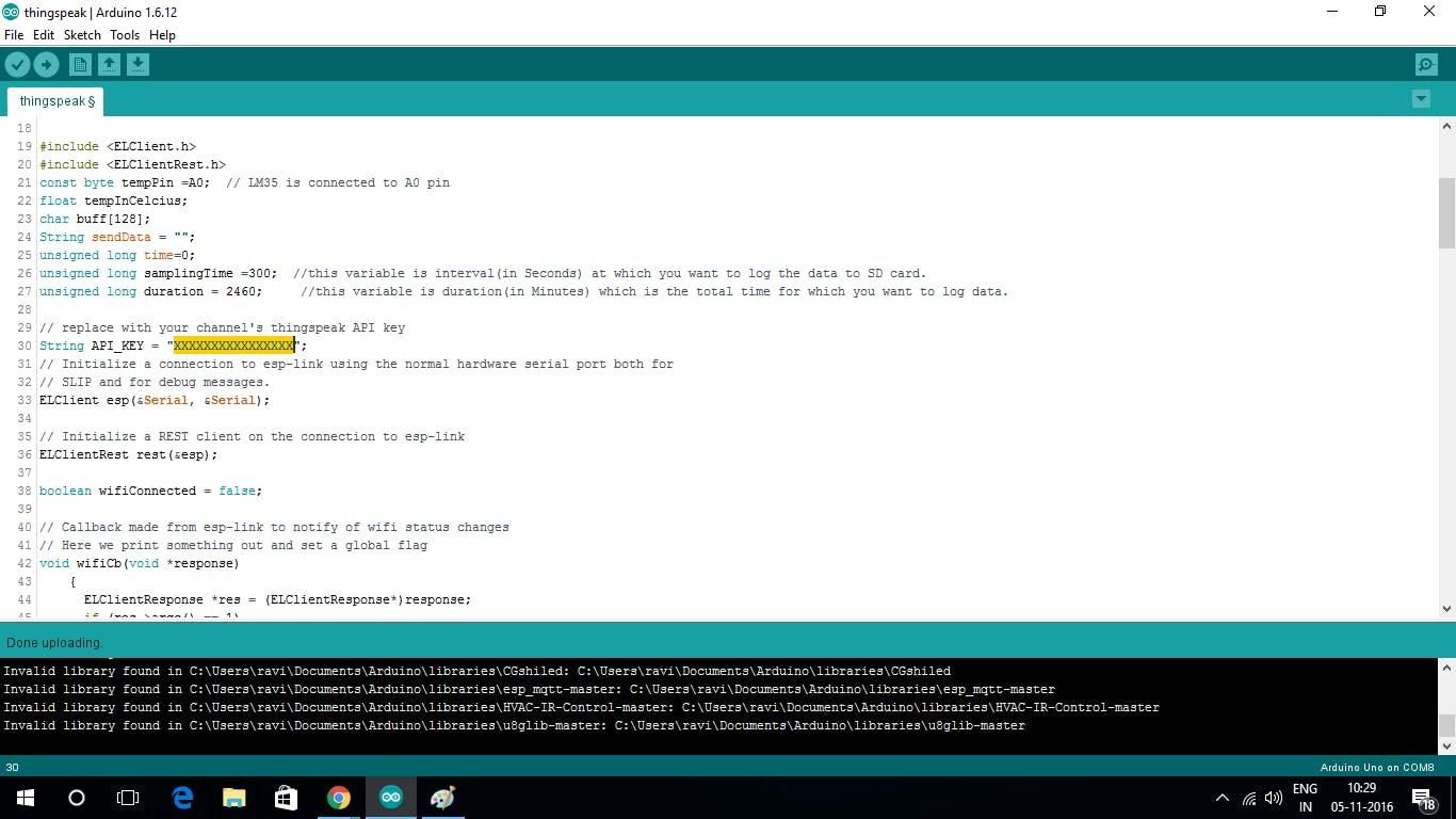 Copy the Api key from thingspeak to arduino ide