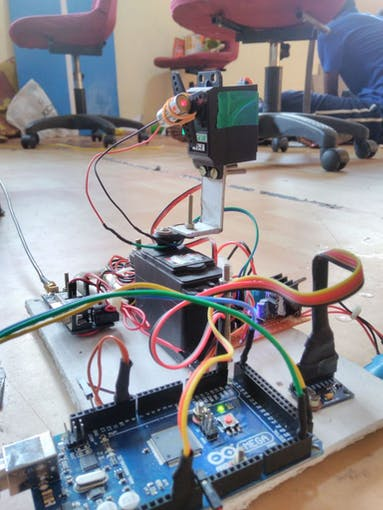This a my final RTPTs with Arduino Mega ,MPU9250,ULBox GPS,Pan-Tilt Servos and a Laser