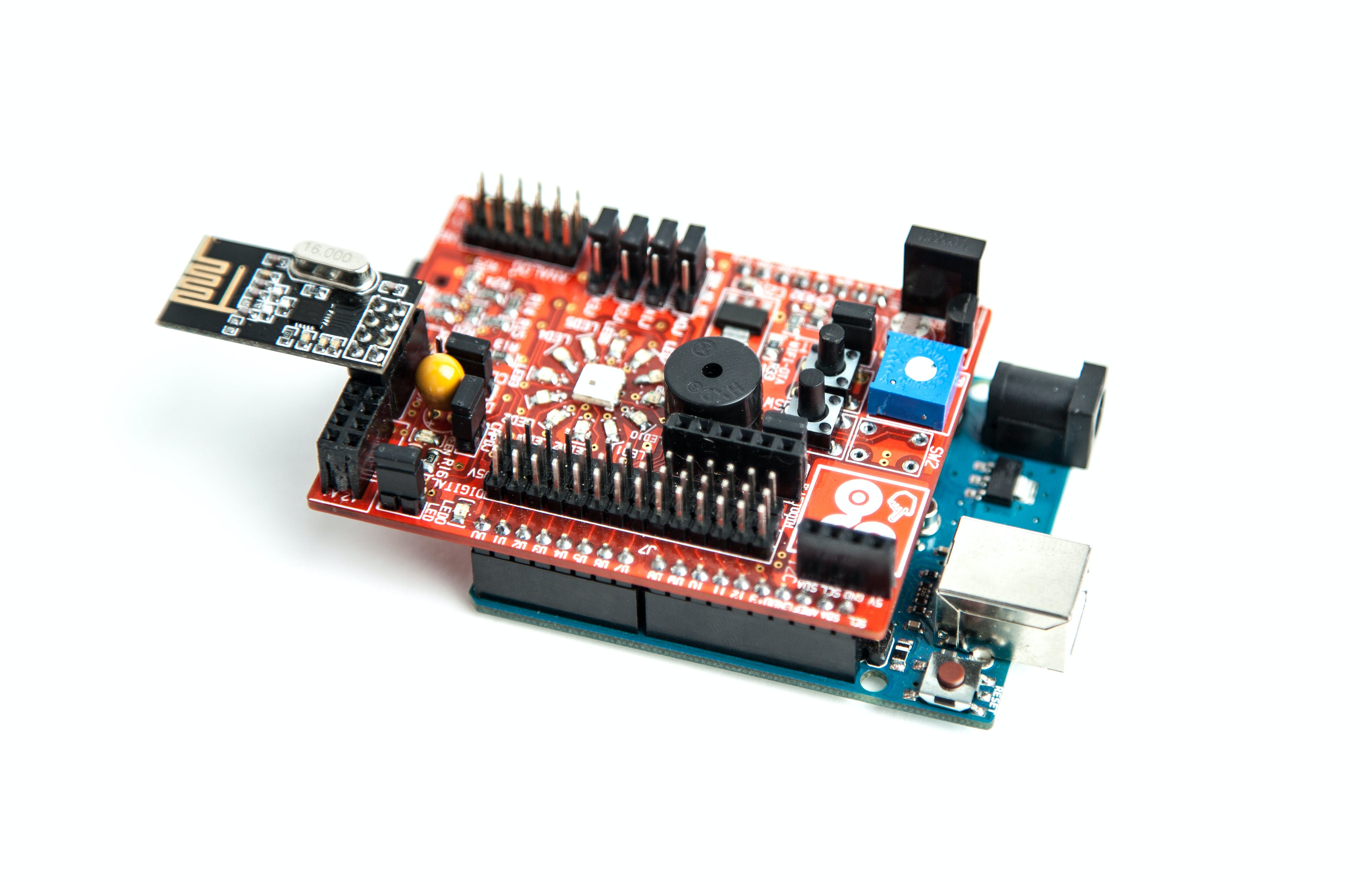 Connect the nrf module to nrf24L01 header.